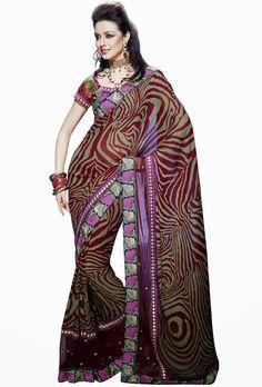 $79 Zebra Print Designer Embroidered Saree online at Glitter