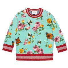 Gucci Rose Print Double Fleece Sweatshirt ($880) ❤ liked on Polyvore featuring tops, hoodies, sweatshirts, rose, blue print top, patterned sweatshirts, gucci, pattern tops and fleece tops