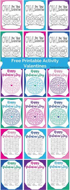 Free Printable Activity Valentines via @TheQuietGrove