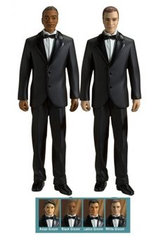This gay wedding cake topper is a lovely keepsake quality wedding cake topper, ideal for your wedding day or as an anniversary gift. Each figurine is beautifully handcrafted and exquisitely adorned. Each set features interchangeable multiethnic partners that can be individually matched as a couple. Our artists have paid close attention to the hand painted facial and fashion de...