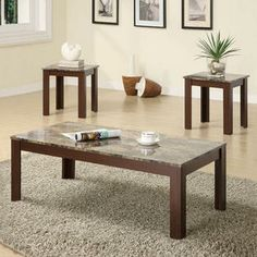 Coaster Contemporary Brown Faux Marble Looking Top 3 Pcs Occasional Coffee End Table Set - Furniture & Mattresses - Living Room Furniture - ...