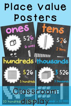 Place Value Posters / MAB Posters {Chalkboard theme} - Real Time - Diet, Exercise, Fitness, Finance You for Healthy articles ideas Classroom Walls, Classroom Posters, Classroom Displays, Classroom Organisation, Future Classroom, Classroom Decor, Student Learning, Teaching Math, Teaching Ideas