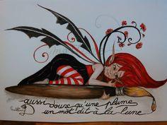 """Dans le monde féérique de """"les tronches flaurifolles """" (page Facebook) il y a les lutins  modelés à la main  en terre de grès , les bébés  de fée en porcelaine froide  et puis , les illustrations  féériques  , aquarelles ou dessin s de fées follettes. Ici une aquarelle  format 29.7 x 42 cms  au prix   de  75 euros . http://www.facebook.com/pages/LES-TRONCHES-FLAURIFOLLES/191864113278"""