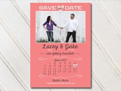 Coral Wedding Save The Dates Photo Magnets Postcards Cards Coral Orange Mint…