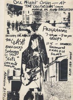 THE CLASH (w/ Buzzcocks, Subway Sect, Slits) Concert Poster [11 March 1977; @Coliseum Cinema Harlesden, London]