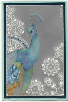 By Carolyn C. Pergamano Parchment Craft. Peacock worked with polychromo pencils.