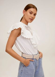 Cotton fabric Openwork panel Closed neck Openwork ruffle Embroidered motifs Short sleeve Back hook fastening Best Online Shopping Sites, Handbags Online Shopping, Top Volant, Victoria Secret Swimwear, Mango Tops, Cropped Tops, Celebrity Dresses, Celebrity Style, Java