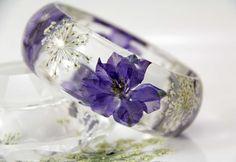 Resin Bracelet, Real Flower Resin Bracelet, Pressed Flower Bracelet, Chunky Bangle, Botanical Jewelry by JasmineThyme on Etsy