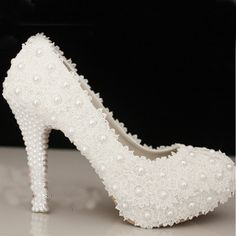 75.00$  Buy now - http://ali8wb.worldwells.pw/go.php?t=1527256457 - Free Shipping Wedding Shoes White High Heel Bridal Dress Shoes Evening Party Prom Shoes Lady Special Shoes for Anniversary 75.00$