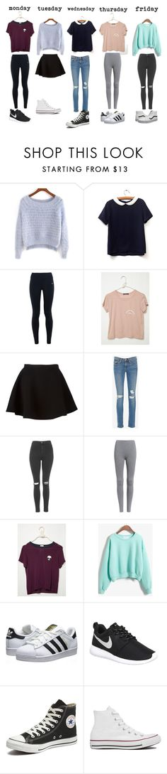 """""""Outfits for school"""" by dani-234 ❤ liked on Polyvore featuring NIKE, Neil Barrett, Frame Denim, Topshop, WithChic, adidas Originals, Converse and Vans"""