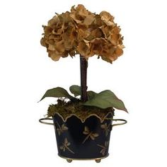 """Silk hydrangea in a dragonfly-printed cache pot.  Product: Faux floral arrangementConstruction Material: Silk and clayColor: Tan, green, black and goldFeatures: Includes faux hydrangeasDimensions: 14"""" H x 8"""" Diameter Note: For indoor use only"""