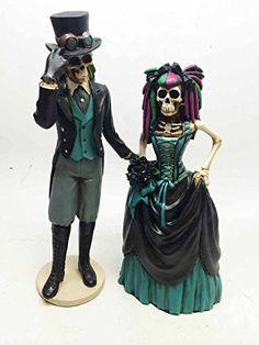 Ebros Day Of The Dead Gothic Steampunk Skeleton Wedding Bride And Groom Statue Lover Never Dies Sugar Skulls Collection Figurine Mexico Day Of The Dead, Day Of The Dead Art, Steampunk Wedding, Gothic Wedding, Love Statue, Wedding Topper, Wedding Cake, Living Dead Dolls, Skull Art