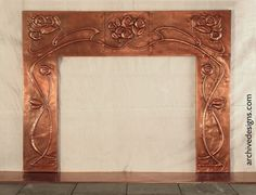 hammered copper fireplace surround inspired by Scottish Arts & Crafts Architect, George Henry Walton.