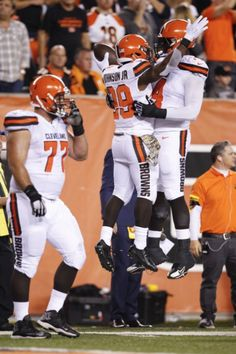 Cleveland Browns running back Duke Johnson (29) celebrates a touchdown with offensive tackle Cameron Erving (74) in the first half of an NFL football game against the Cincinnati Bengals, Thursday, Nov. 5, 2015, in Cincinnati. (AP Photo/Frank Victores)