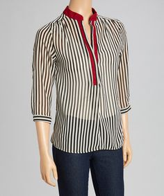 Another great find on #zulily! Black & White Stripe Roll-Tab Sleeve Blouse #zulilyfinds