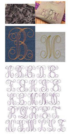 JuJu 631 Embroidery Bean Stitch Interlaced Monogram  HAVE