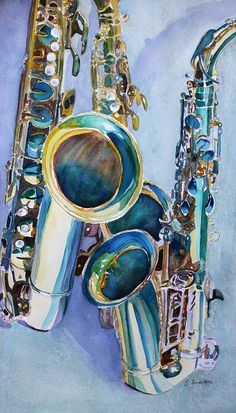 Saxy Trio Painting by Jenny Armitage