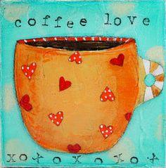 Original Painting - Mixed Media Art - Acylic Painting - 4x4 canvas - Orange Cup of Hearts and Coffee Mug on Etsy via Etsy