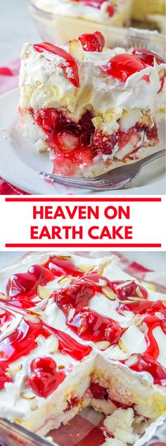 Heaven on Earth Cake with delicious layers of angel cake sour cream pudding cherry pie filling whipped topping and almonds. Creamy and decadent this cherry trifle is a sure crowd pleaser! Dessert Simple, Food Cakes, Cupcake Cakes, Cupcakes, Köstliche Desserts, Dessert Recipes, Pudding Desserts, Plated Desserts, Earth Cake