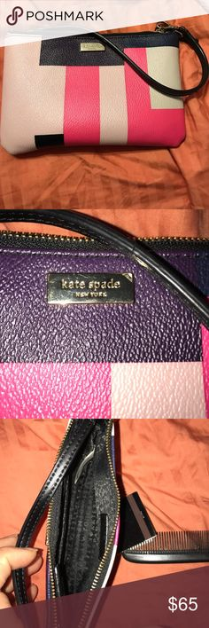Kate spade wristlet Blocks of pinks and purples/dark blues wristlet. Holds an iPhone. Has built in card slots. Never used. No tag. kate spade Bags Clutches & Wristlets