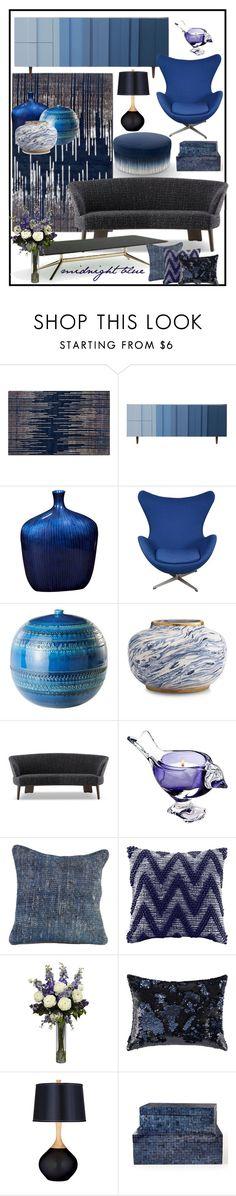 """""""MIDNIGHT BLUE INTERIOR!!!"""" by kskafida ❤ liked on Polyvore featuring interior, interiors, interior design, home, home decor, interior decorating, Blue Area, Bobby Berk Home, Howard Elliott and Bitossi"""