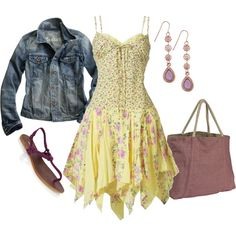 Yellow Floral Sundress and Denim Jacket :)