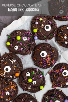 Reverse Chocolate Chip Monster Cookies | Deliciously Declassified Like Chocolate, White Chocolate Chips, Fancy Sprinkles, Ice Cream Scooper, Perfect Cookie, Brownie Cookies, Bake Sale, Halloween Treats, Tray Bakes