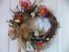 WREATH+Spring+Flowers+on+GRAPEVINE+BURLAP+by+VintageCreativeAccen,+$50.00