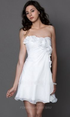 Wonderful White Semi Formal Dress With Floral Details PLFD126