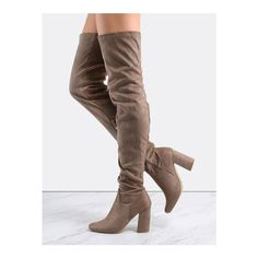 SheIn(sheinside) Faux Suede Thigh High Boots TAUPE (170 BRL) ❤ liked on Polyvore featuring shoes, boots, brown, faux suede thigh high boots, side zip boots, taupe boots, square toe boots and brown over-the-knee boots
