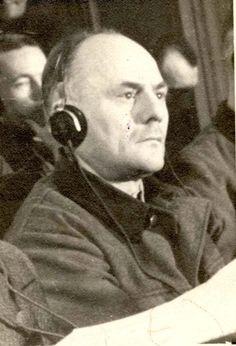 Hans Aumeier on trial at the Supreme National Tribunal, Kraków, Poland, 1947.
