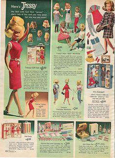 Tressy and Cricket=Sears 1966 Christmas Catalog