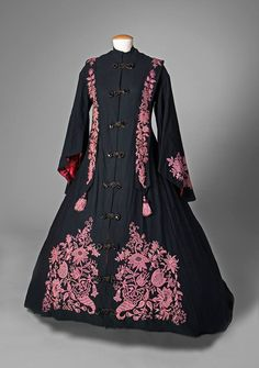 Black wrapper pink embroidery mid-1860s civil war era fashion