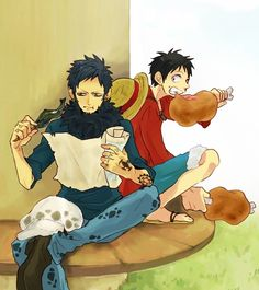 Lunch - Trafalgar D. Water Law and Monkey D. Luffy One piece