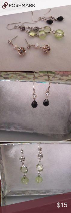 Earring Set 3 different earrings!! Only the black pair has been worn.. They can all be worn casual or dressy.. Also can be given as a great little gift!!! Jewelry Earrings