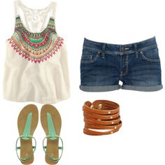 cute summer outfit! really dig the white and teal combo for summer