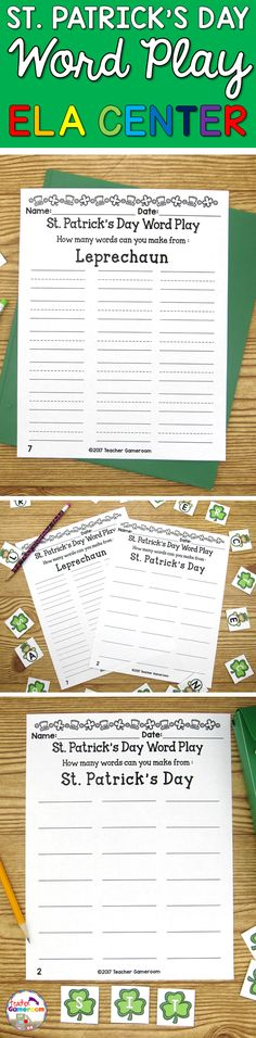 Students use the letters in words to make new words. You have 2 sheets to choose from in: St. Patrick's Day and Leprechaun. Great for a Marcj literacy center. Common Core aligned.