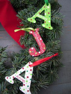 Custom Handpainted Wooden Monogram Initial Letter Christmas Ornament Keepsake