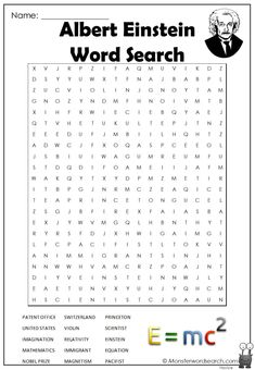 nice Albert Einstein Word Search Free Printable Word Searches, Home History, Nobel Prize, Albert Einstein, Mathematics, Names, Words, Math, Math Resources