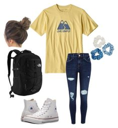 """lazy school day"" by faithjones1223 on Polyvore featuring River Island, Converse, Mudd and The North Face"
