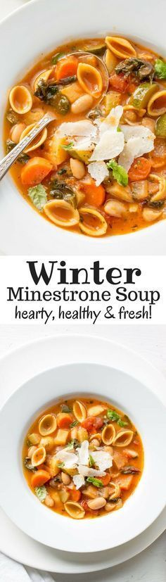 Winter Minestrone Soup ~ hearty, healthy and loaded with fresh seasonal vegetables. Featuring Chickapea Pasta, Swiss Chard, onion, carrots, celery, zucchini, potato and cannellini beans. Freezes beautifully! www.savingdessert.com