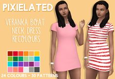 "pixielated: "" - 24 solid recolours and 30 patterened recolours of @veranka-s4cc's boat neck dress - solids adds swatches to the originals, patterns are standalone - female, teen to elder - feel free..."