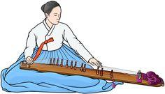 カヤグム(伽耶琴、gayageum、가야금)韓国の弦楽器。