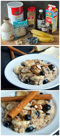 Healthy Oatmeal Recipe (Uses bananas, maple syrup, coconut, blueberries, chia seeds, and more!) Kid approved breakfast! | CraftyMorning.com