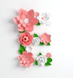 Origami, Flower Alphabet, Letter E, Flatlay Styling, Pink Paper, Pastel Colors, Digital Illustration, Paper Flowers, Paper Art