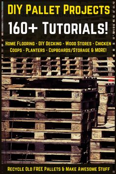Used Pallet Project Tutorials & Ideas From DIY pallet flooring & decking to pallet chicken coops & rabbit hutches, through to pallet herb gardens, strawberry planters, and even a DIY wood store! Used Pallets, Recycled Pallets, Wooden Pallets, Pallet Wood, 1001 Pallets, Art Furniture, Pallet Furniture, Furniture Projects, Furniture Plans
