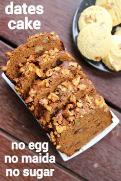 date cake recipe, date walnut cake, eggless date and walnut loaf with step by step photo/video. traditional dark loaf cake with plain flour, date & walnuts. Eggless Desserts, Eggless Recipes, Eggless Baking, Healthy Cake Recipes, Sweet Recipes, Baking Recipes, Snack Recipes, Eggless Dates Cake Recipe, Recipes With Dates Healthy