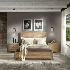 Grain Wood Furniture Montauk Queen Solid Wood Panel Bed (Queen Size – Driftwood Finish), Brown Source by rarceo Furniture, Bedroom Sets, Interior, Home, Bedroom Makeover, Home Bedroom, Solid Wood Bed, Interior Design, Rustic Bedroom