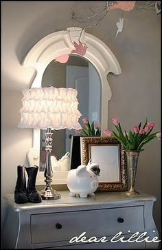 love the lamp. so easy to make. just glue on ruffles to a amp shade.  @Kellee Burley, we need to do this!!