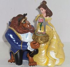Disney World Princess Belle Beast Musical Snowglobe Figurine Theme Park MIB Gift